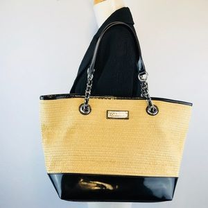 Calvin Klein Straw Black Patent Leather Tote Bag
